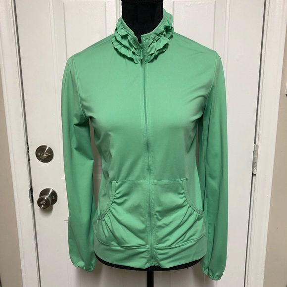 Reebok Jackets & Blazers - Reebok Ruffled Collar Yoga Jacket